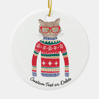 Funny Ugly Christmas Sweater, Cute Cat Lover Christmas Ornament