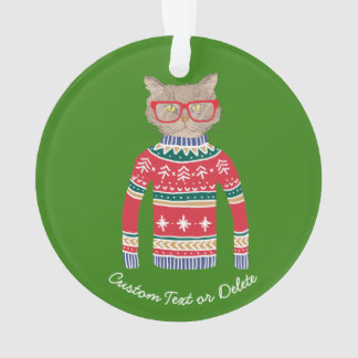 Funny Ugly Christmas Sweater, Cute Cat Lover Ornament