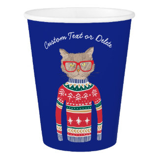 Funny Ugly Christmas Sweater, Cute Cat Lover Paper Cup