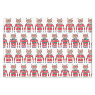 Funny Ugly Christmas Sweater, Cute Cat Lover Tissue Paper