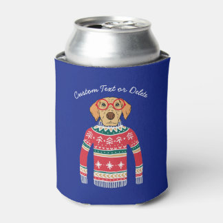 Funny Ugly Christmas Sweater, Dog Wearing Glasses Can Cooler