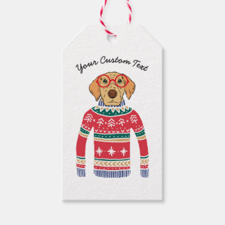 Funny Ugly Christmas Sweater, Dog Wearing Glasses Gift Tags