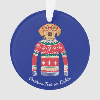 Funny Ugly Christmas Sweater, Dog Wearing Glasses Ornament