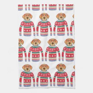Funny Ugly Christmas Sweater, Dog Wearing Glasses Tea Towel