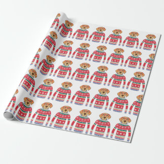 Funny Ugly Christmas Sweater, Dog Wearing Glasses Wrapping Paper