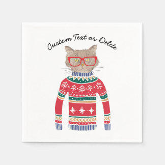 Funny Ugly Christmas Sweater Party, Cute Cat Lover Paper Napkin