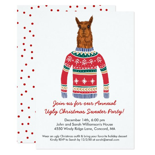 Funny Ugly Christmas Sweater Party with Cute Llama