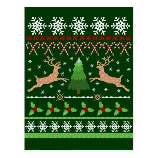 Funny Ugly Christmas Sweater Postcards