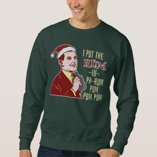 Funny Ugly Christmas Sweater Retro Rum Man Humour