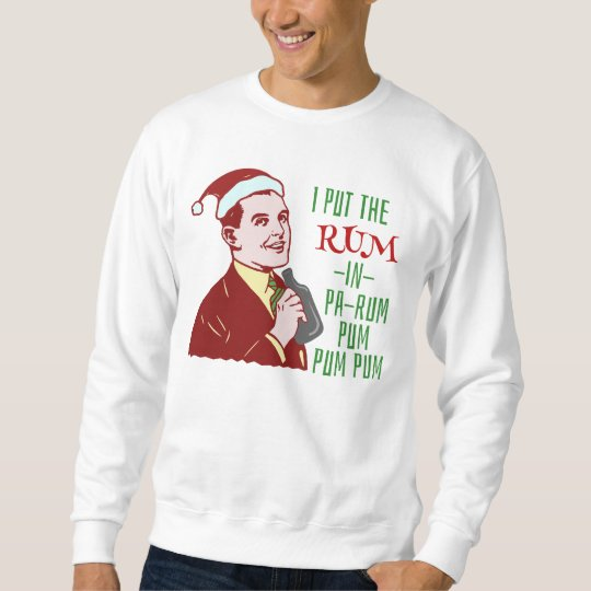 Funny Ugly Christmas Sweater Rum Man Retro Humour