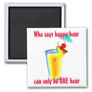 Funny Umbrella Drinks Happy Hour Square Magnet