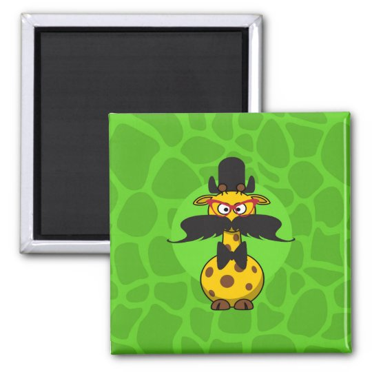 Funny Undercover Giraffe in Moustache Disguise Square Magnet