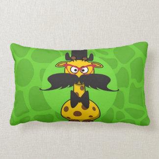Funny Undercover Giraffe in Mustache Disguise Lumbar Cushion