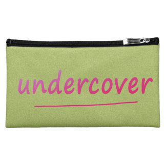 Funny Undercover Shiny Pink Text on any Color Cosmetic Bags