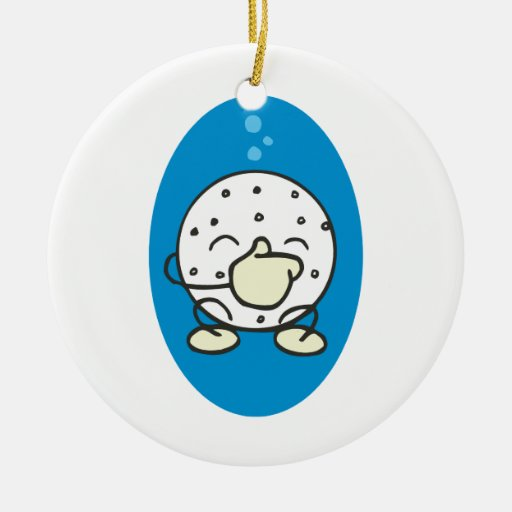 funny underwater golf ball holding its nose round ceramic decoration