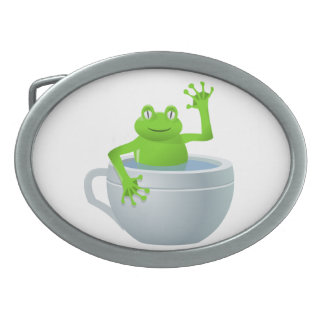 Funny Unexpected Frog in My Tea Cup Oval Belt Buckle