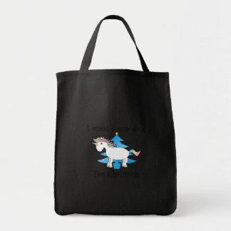 Funny unicorn christmas gift grocery tote bag