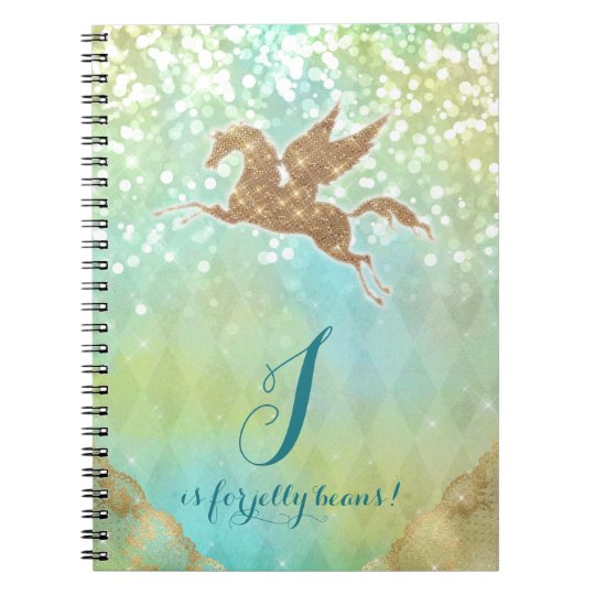 Funny Unicorn Glitter Gold Lights Blue Letter J