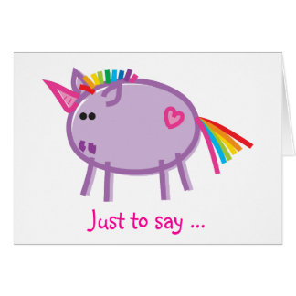 Funny Unicorn on White Card