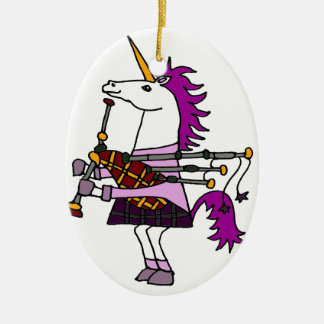 Funny Unicorn Playing Bagpipes Art Ceramic Oval Decoration