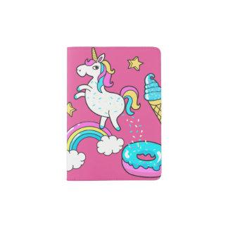 Funny unicorn pooping rainbow sprinkles on donut passport holder