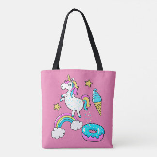 Funny unicorn pooping rainbow sprinkles on donut tote bag