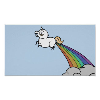 Funny Unicorn Pooping Rainbows Poster
