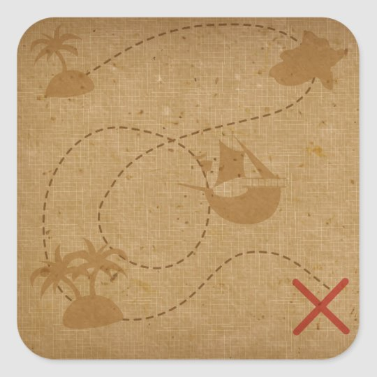 Funny Unique Vintage Pirate Treasure Map Square Sticker