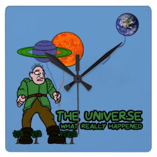 Funny universe square wall clock