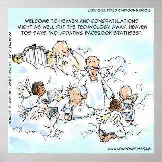 Funny Update facebook Status In Heaven Poster