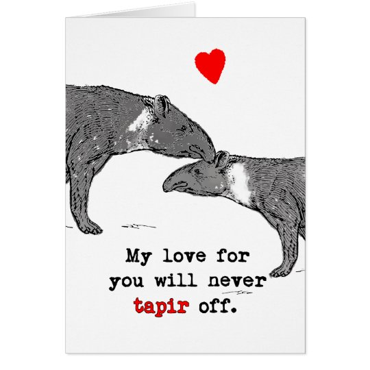 Funny Valentine Card Tapir Lovers with heart -My