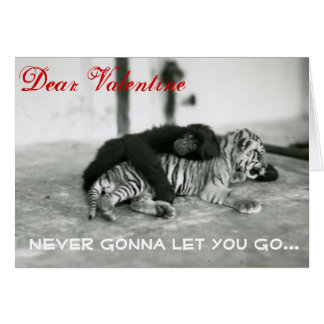 Funny Valentine Day Monkey and Tiger Card