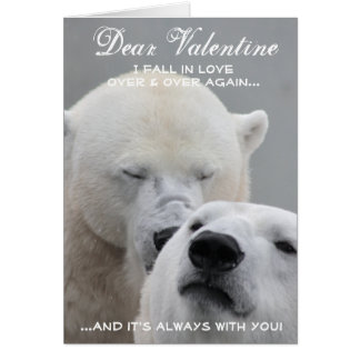 Funny Valentine Day Polar Bears Greeting Card
