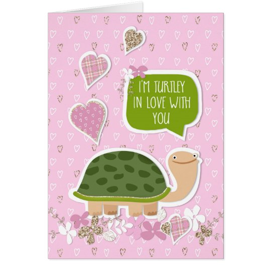Funny Valentine's Day Card - Cute Turtle Cartoon