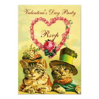 FUNNY VALENTINE'S DAY CATS, PINK ROSE HEART RSVP 9 CM X 13 CM INVITATION CARD