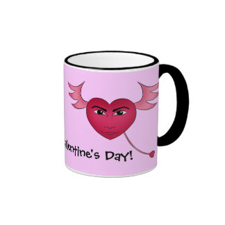 Funny Valentine's day heart with wings Ringer Mug