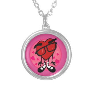 FUNNY VALENTINES DAY HIPSTER HEART SMALL NECKLACE