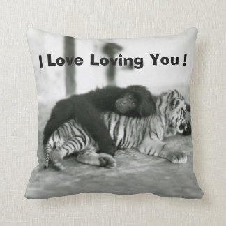 Funny Valentines Day Monkey and Tiger Throw Pillow