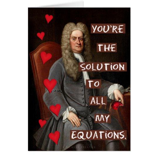 Funny Valentine's Day Newton Geek Math Love Card
