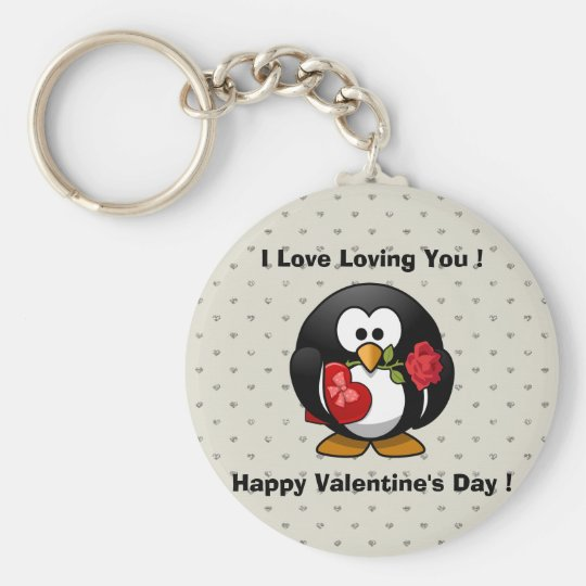 Funny Valentines Day Penguin Key Ring