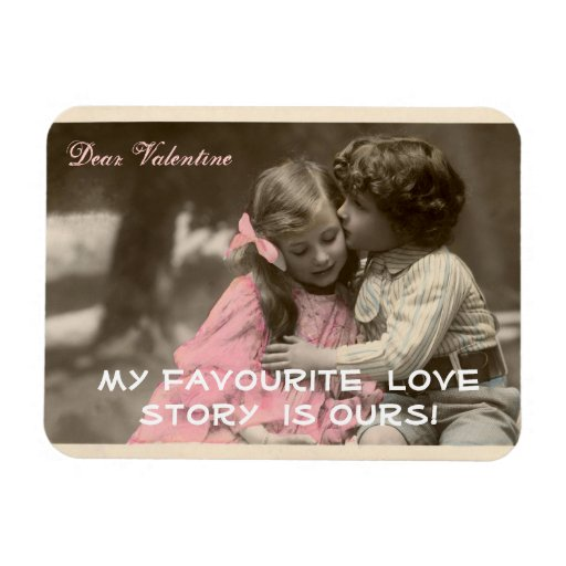 Funny Valentines Day Vintage Boy and Girl Rectangle Magnet