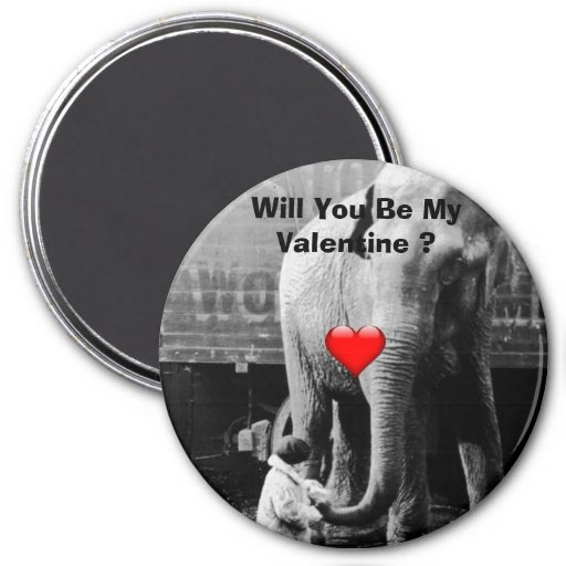 Funny Valentines Day Vintage Girl with Elephant Magnets