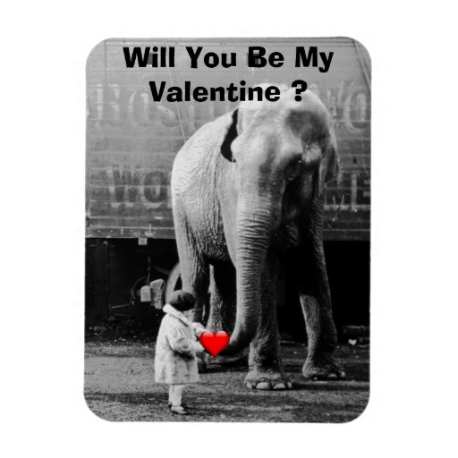 Funny Valentines Day Vintage Girl with Elephant Flexible Magnets