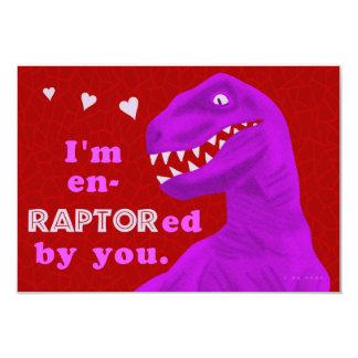 Funny Valentine's Raptor Dinosaur Kids Classroom 9 Cm X 13 Cm Invitation Card