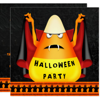Funny Vampire Candy Corn Halloween Party Card