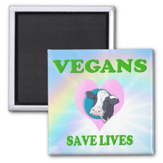 Funny Vegetarian / Vegans Save Lives Magnet