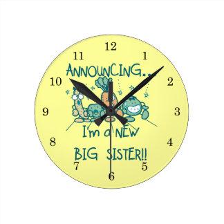 Funny Veggies New Big Sister Round Clock