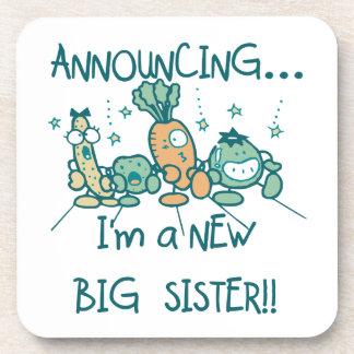 Funny Veggies New Big Sister Drink Coasters