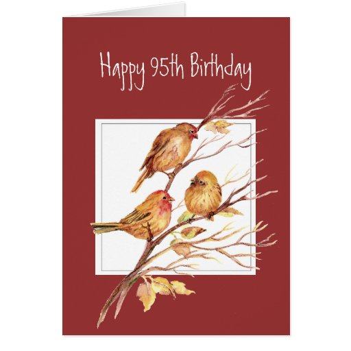Funny Verse 95th Birthday Cute Song Sparrows, Bird Cards