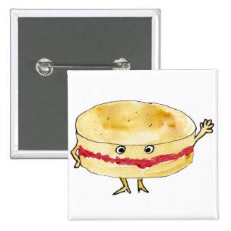 Funny Victoria Sponge Cake novelty art badge